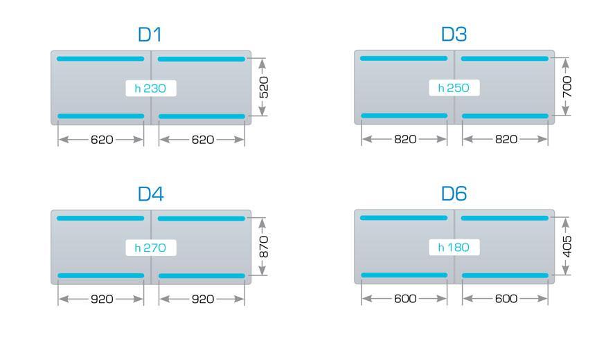 Размеры камеры и сварных планок для Henkovac D1, D3, D4, D6