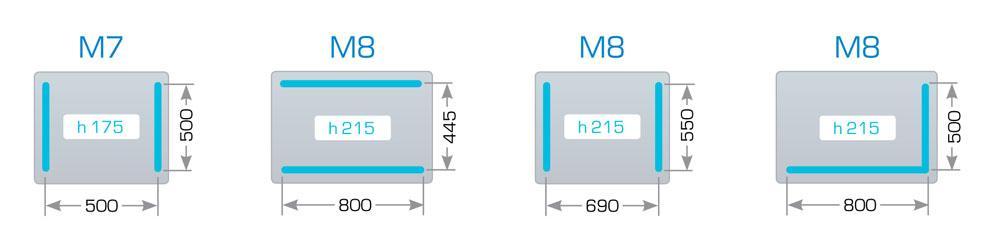 Размеры камеры и сварных планок для Henkovac M7, M8